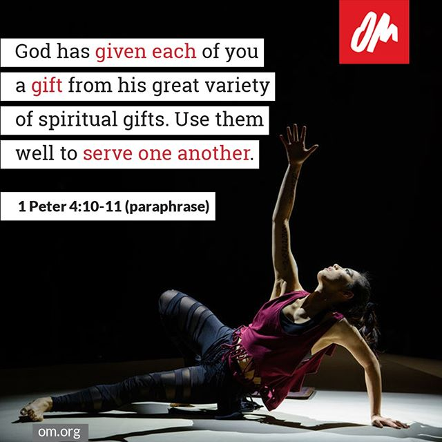 #omintheworld #gifts #spiritualgifts #serve #missions #life #scripture #jesusfollower #OMInternational #GoWithOM