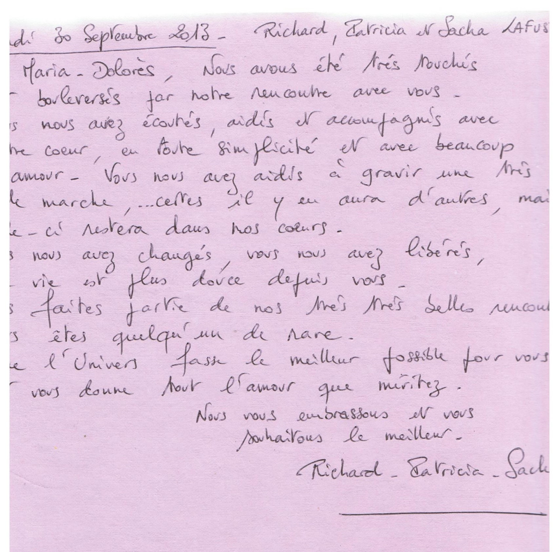 Mot manuscrit de Richard, Patricia et Sacha