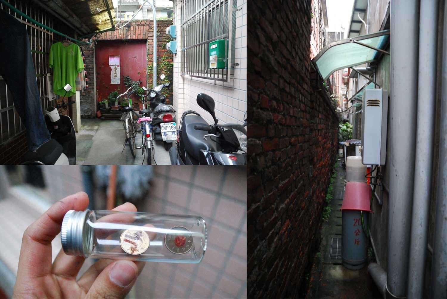 Walked for over 2 hrs to a residential alley. Seemed reaching a dead end, toss again: turn right. It's a gap barely for a person to pass through. 差不多走了兩個多小時,來到一條住宅的小巷,眼看己經到末路,擲到向右轉,是一條只有一個身位的縫隙。