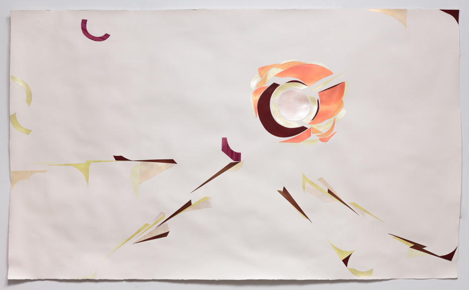 Dialectical travel (v. 2.15.13)  Acrylic on watercolor paper on Arches paper 51 x 88 inches 2014