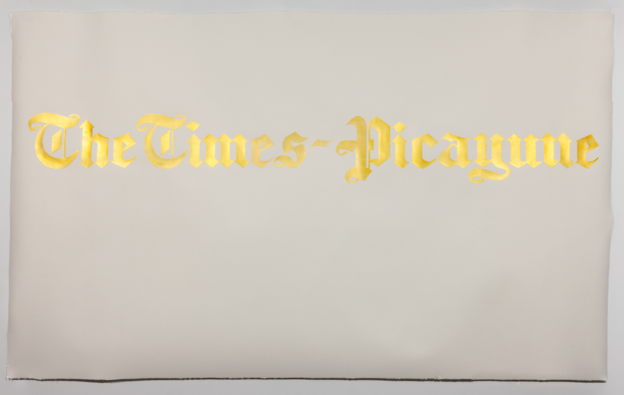 The Times Picayune  Acrylic on watercolor paper on Arches paper 51 x 85.5 inches 2014