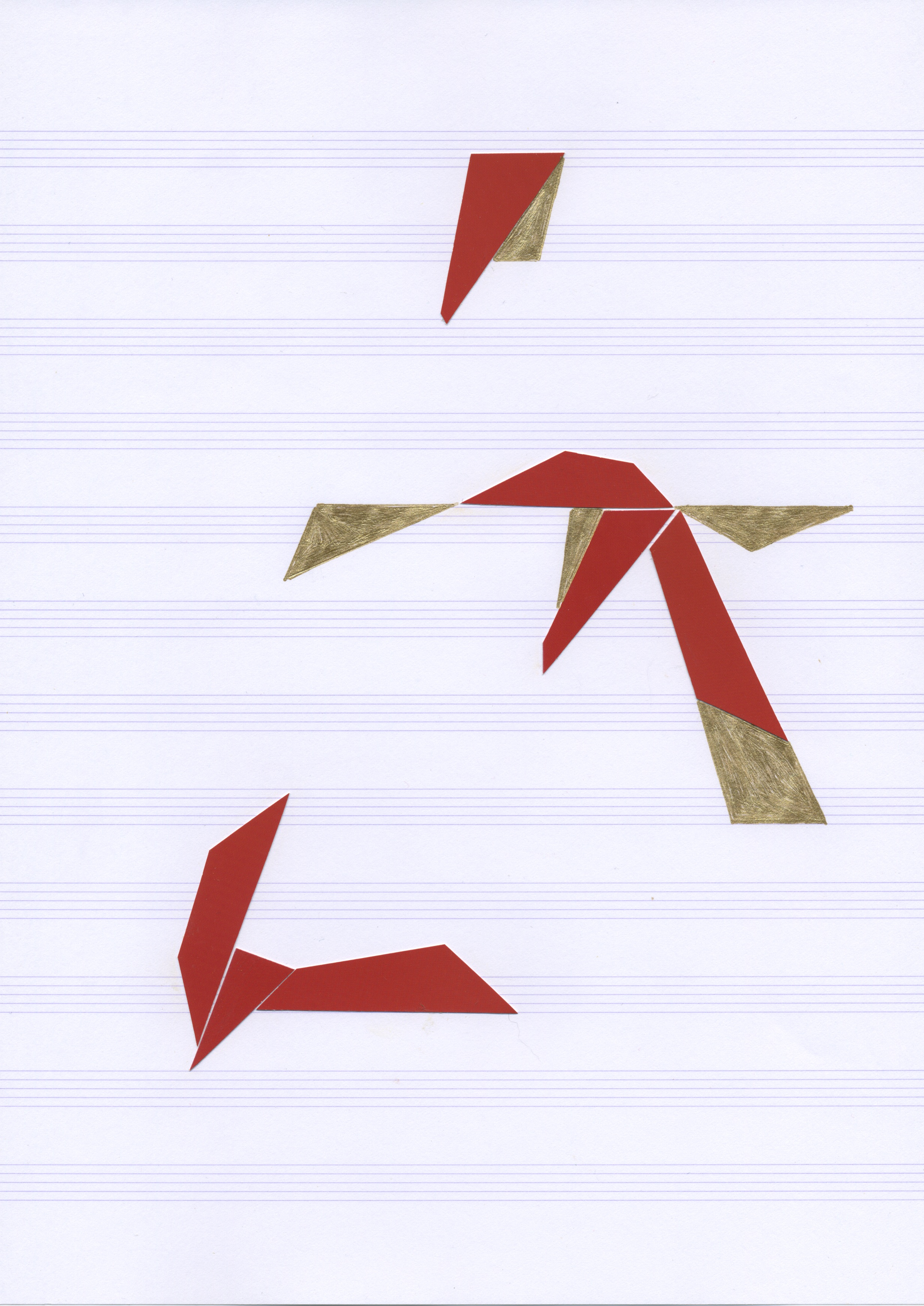 Spatial Notation(s), v. 14  Postcard stock on music paper 11.7 x 8.3 inches, 2011   Private Collection