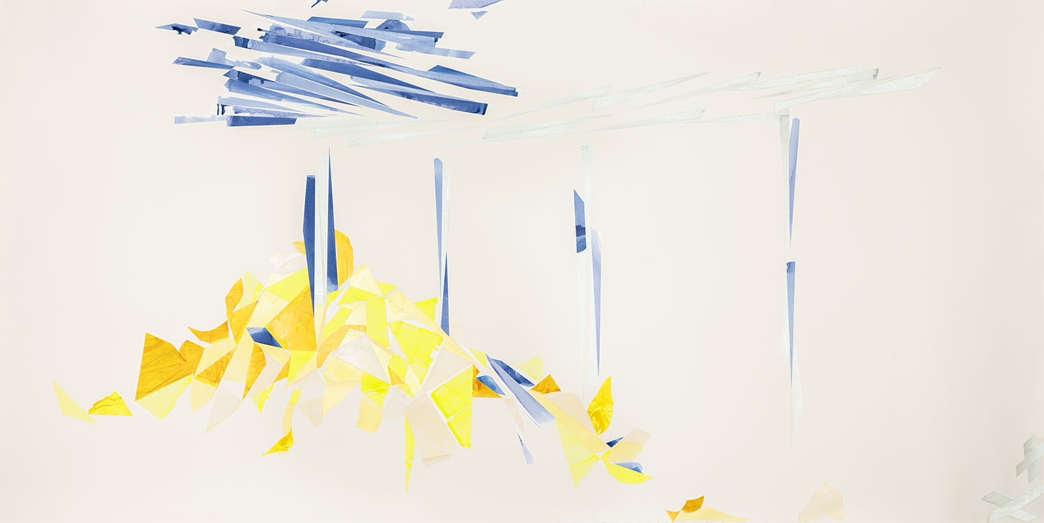 Flourescent miracle  (after Manet) Acrylic on watercolor paper on Arches paper 51 x 103 inches 2015