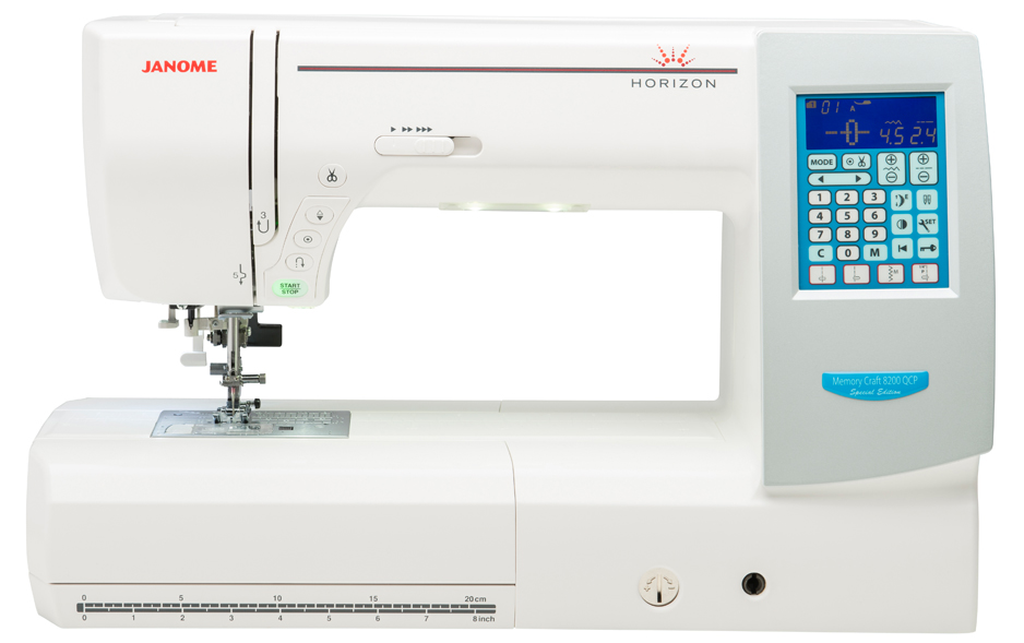 Janome Memory Craft 8200QCPSE  * high resolution LCD screen  * automatic thread cutter  * needle threader  * last stitch recall Capability  * 5 ultra bright LED lamps for shadow free sewing