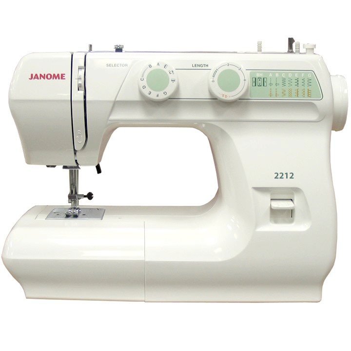 Janome 2212  * 12 Stitches  * 1 four-step buttonhole  * 5mm stitch width  * oscillating hook bobbin