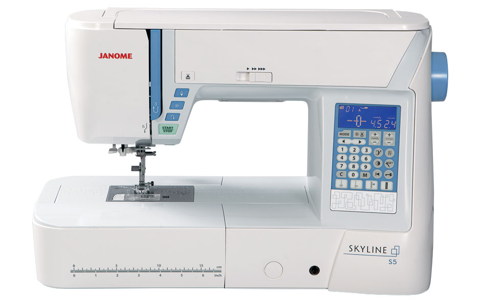 Janome Skyline S5  * 170 built in stitches  * 6 LED lights  * 91 Needle Positions  * 9mm Stitch width  *Back lit LCD screen  * easy reverse button