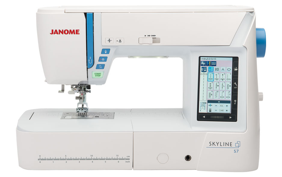 Janome Skyline S7  * 240 built in stitches  * 7 alphabets  * snap on feet  * USB port to add stitches  * snap on presser feet  * accufeed flex layered fabric feeding system