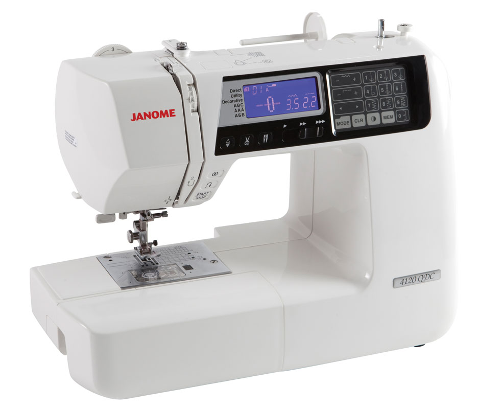 Janome 4120QCD  * 120 built-in stitches  * foot pressure adjustment  * built-in thread cutter  * hard cover and instructional DVD  * extra high presser foot lift