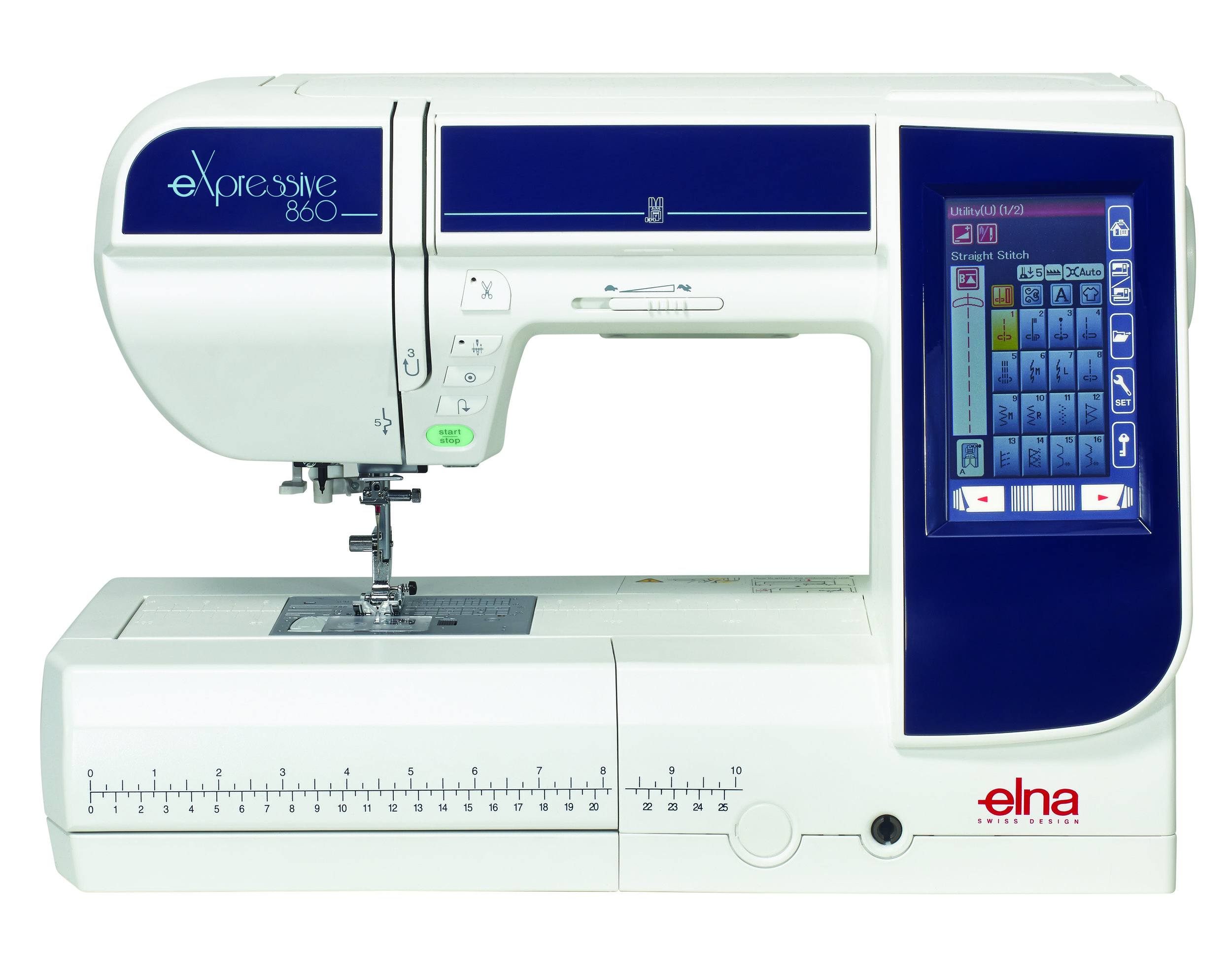Elna Expressive 860  * LCD screen  * built-in needle threader  * 200 stitches  * 171 built-in embroidery designs  * built-in scissors  * speed control