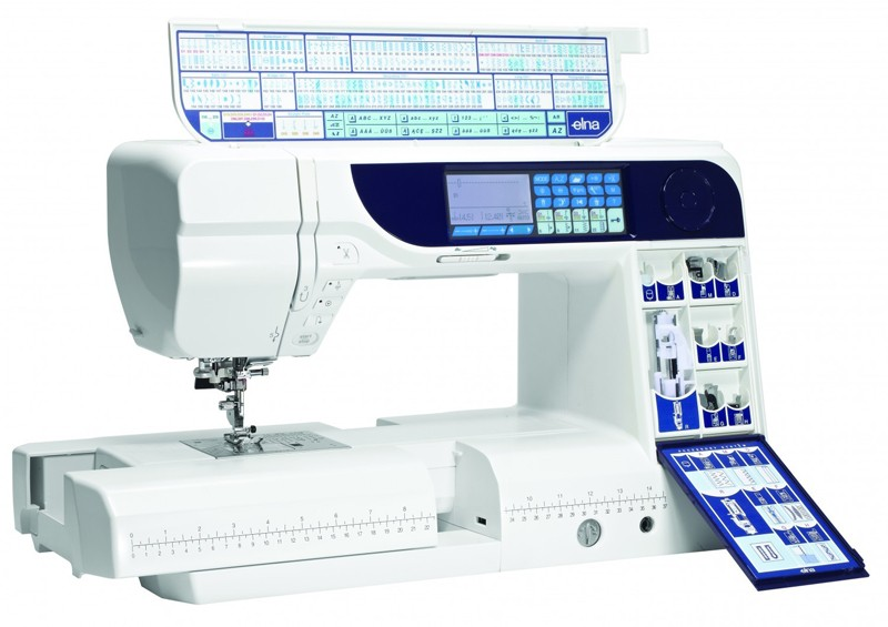Elna 740  * 245 stitches including 26 exclusive stitches  * built-in needle threader  * ergonomic adjustable knee lift  * locking stitch button  * automatic needle threader  * speed control