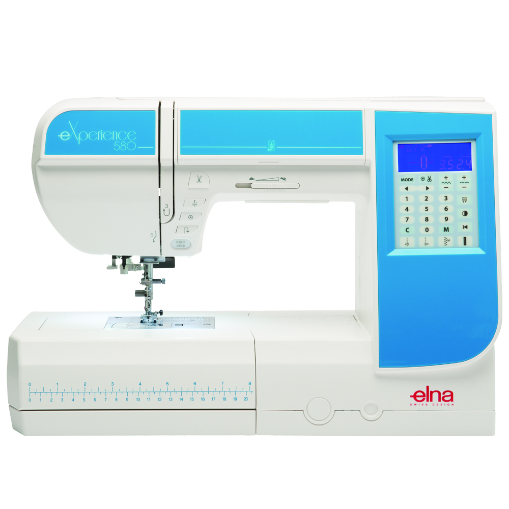 Elna experience 580  * 120 built-in stitches  * 71 needle positions  * large workspace  * built-in needle threader  * free arm