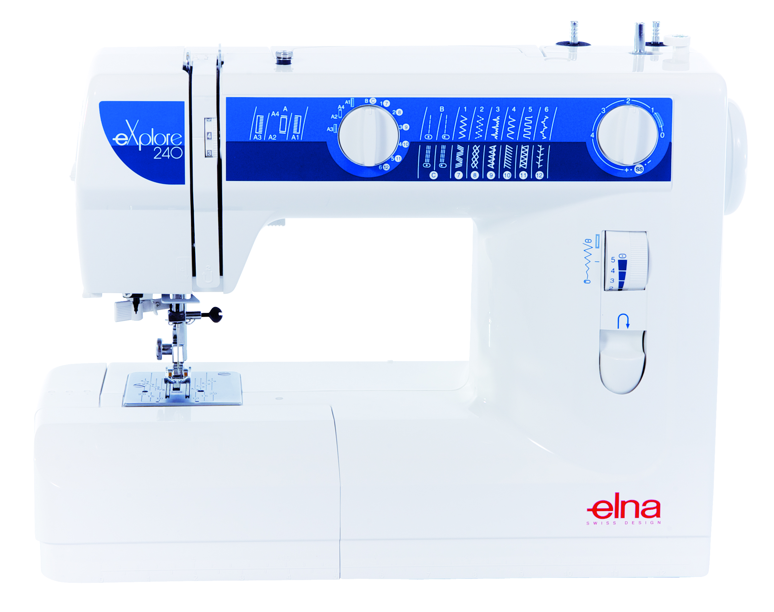 Elna Eplore 240  * 24 built-in stitches  * built-in storage  * Snap-on presser feet  * needle threader  * reverse lever  * circular sewing