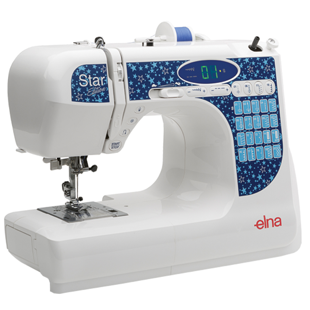 Elna Star  * 20 built-in stitches  * needle threader  * speed control  * one-step buttonhole  * locking stitch button  * start/stop button