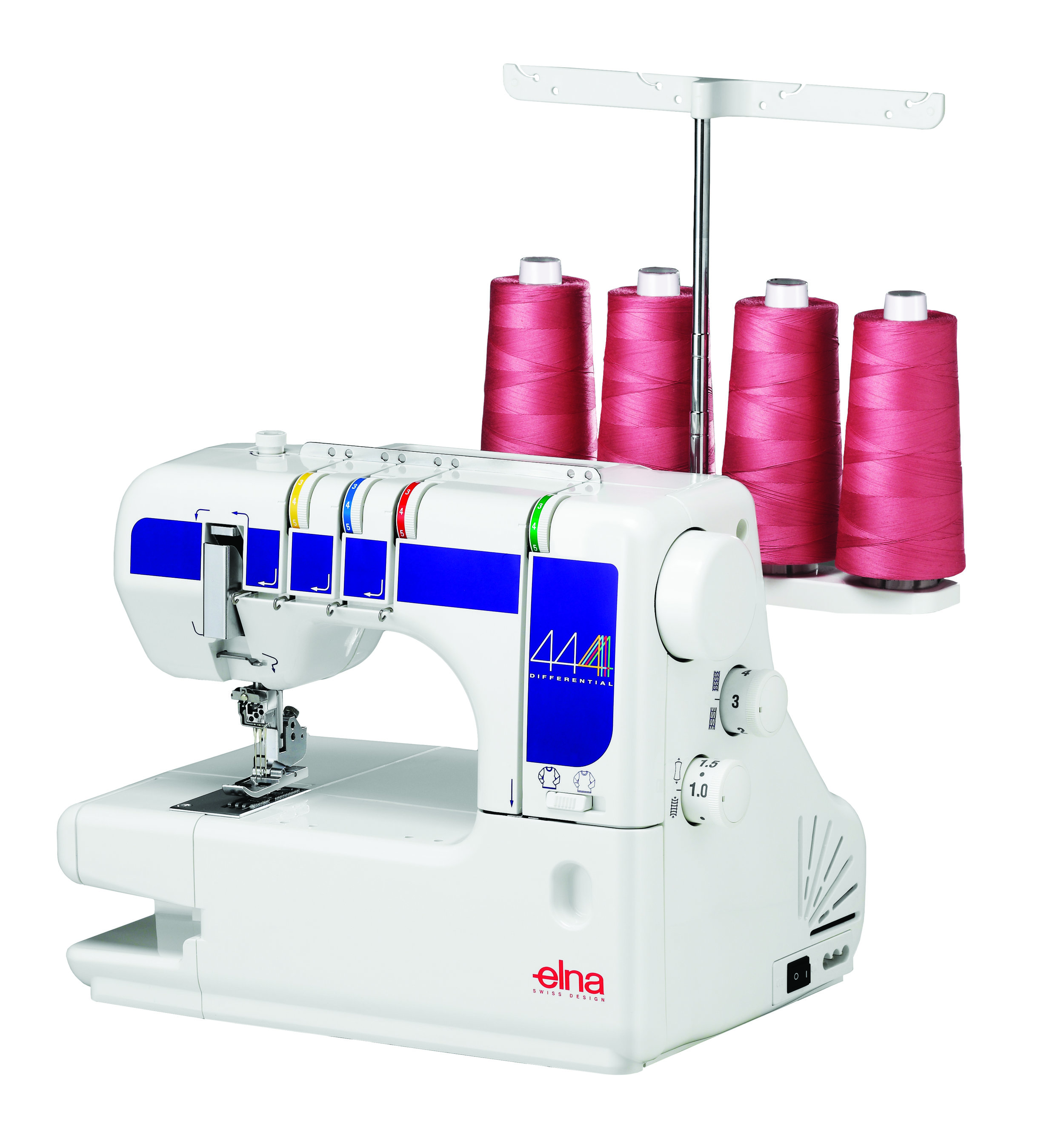 Elna 444  * 14 stitch programs  * color thread guide chart  * 4 spools  * built in retractable handle  * adjustable differential feed