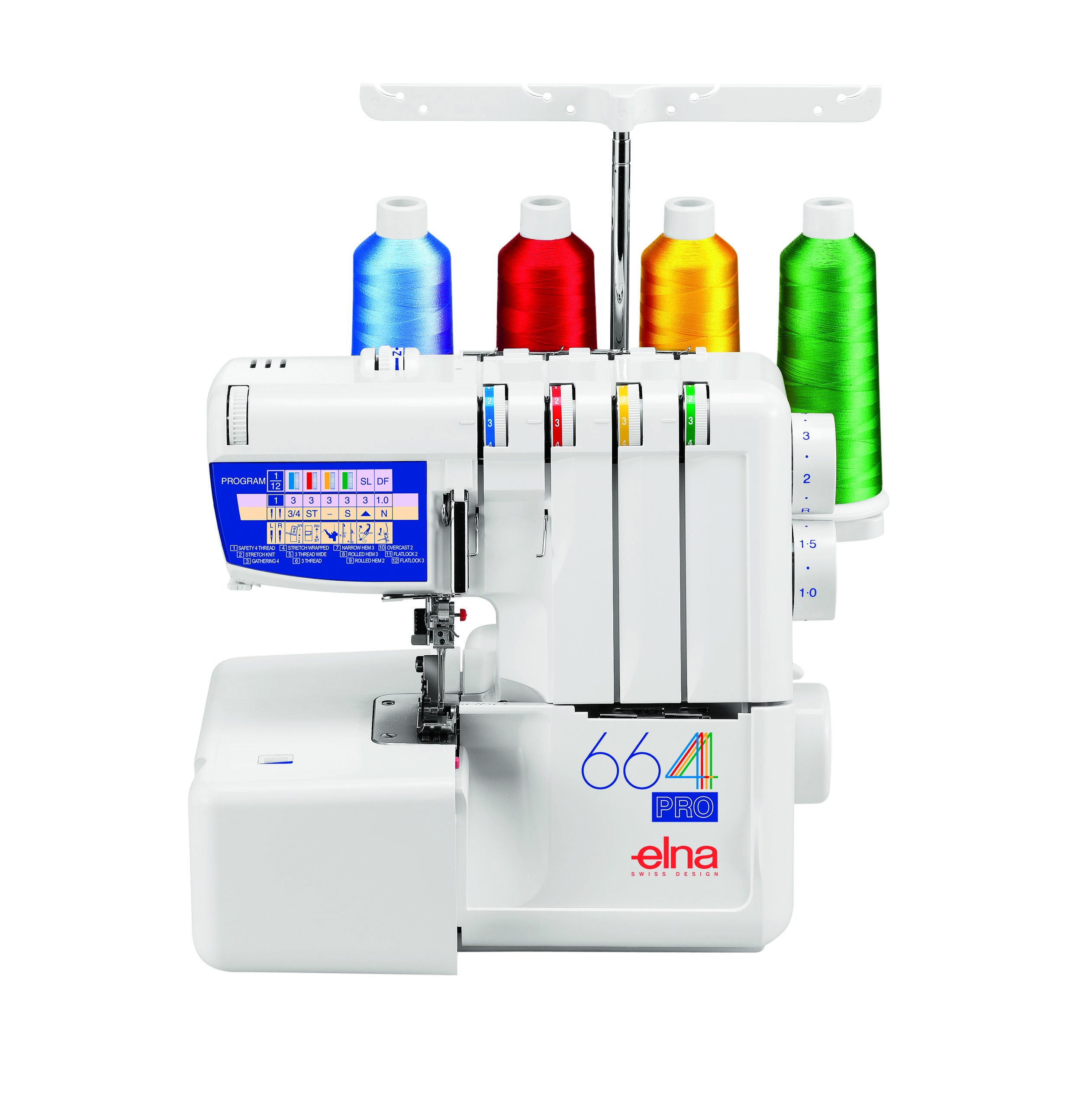 Elna 664  * self threading lower looper  * color coded threading chart  * 4/3/2 thread  * tilting needle clamp