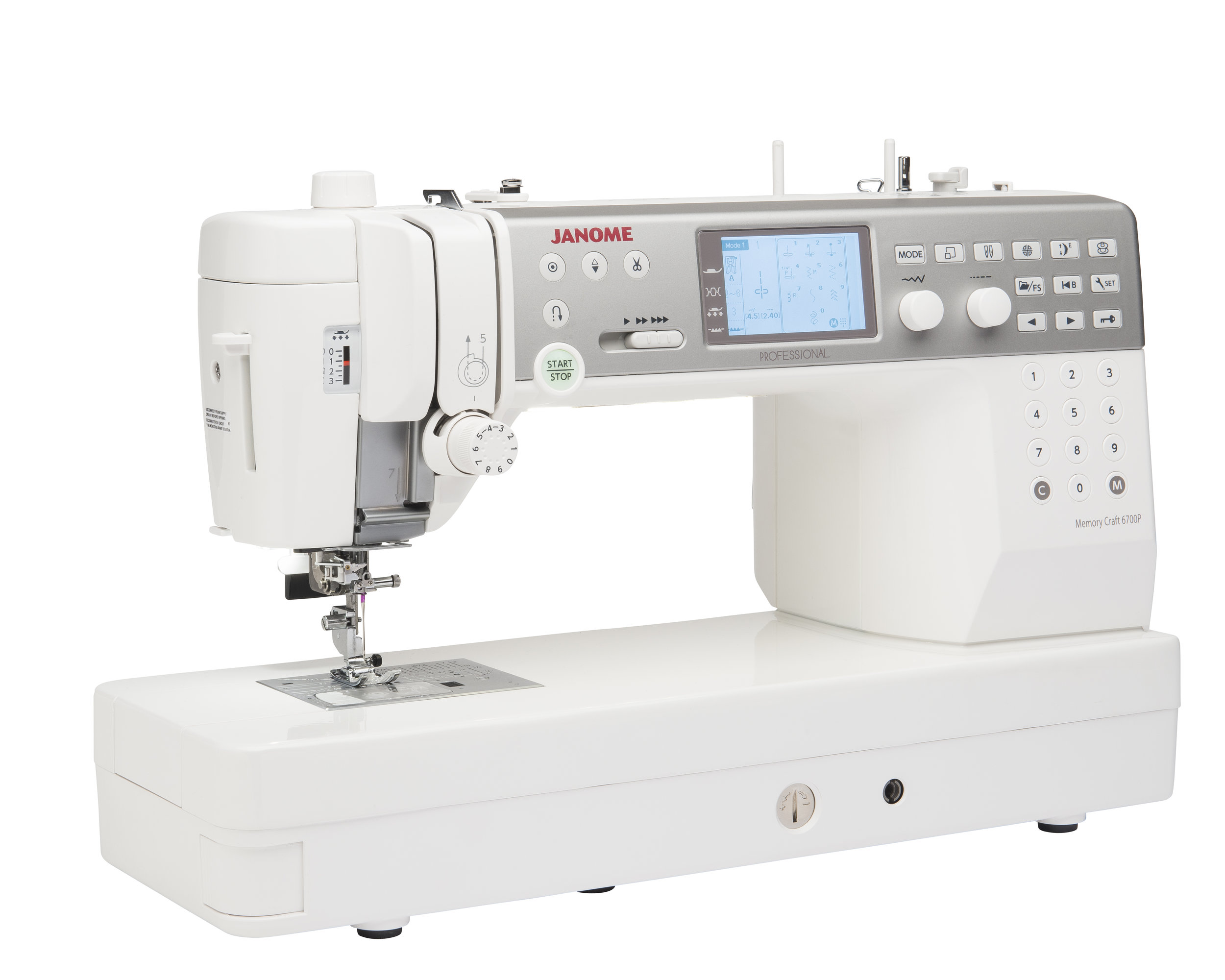 """Janome MC6700  * 200 stitches 5 Alphabet  * 6 LED lights  * 1200 spm  * 10"""" seamless all-metal flat bed  * Large Extension table"""