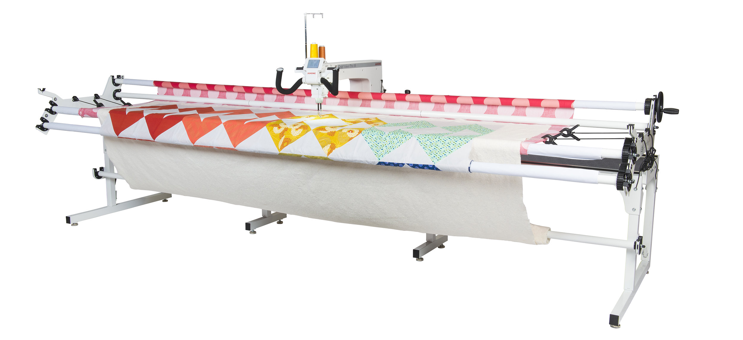 "Janome quilt maker pro  * 18"" machine Arm  * 12' Frame  * Digital LCD touch screen  * digital tension  * stitch regulator"