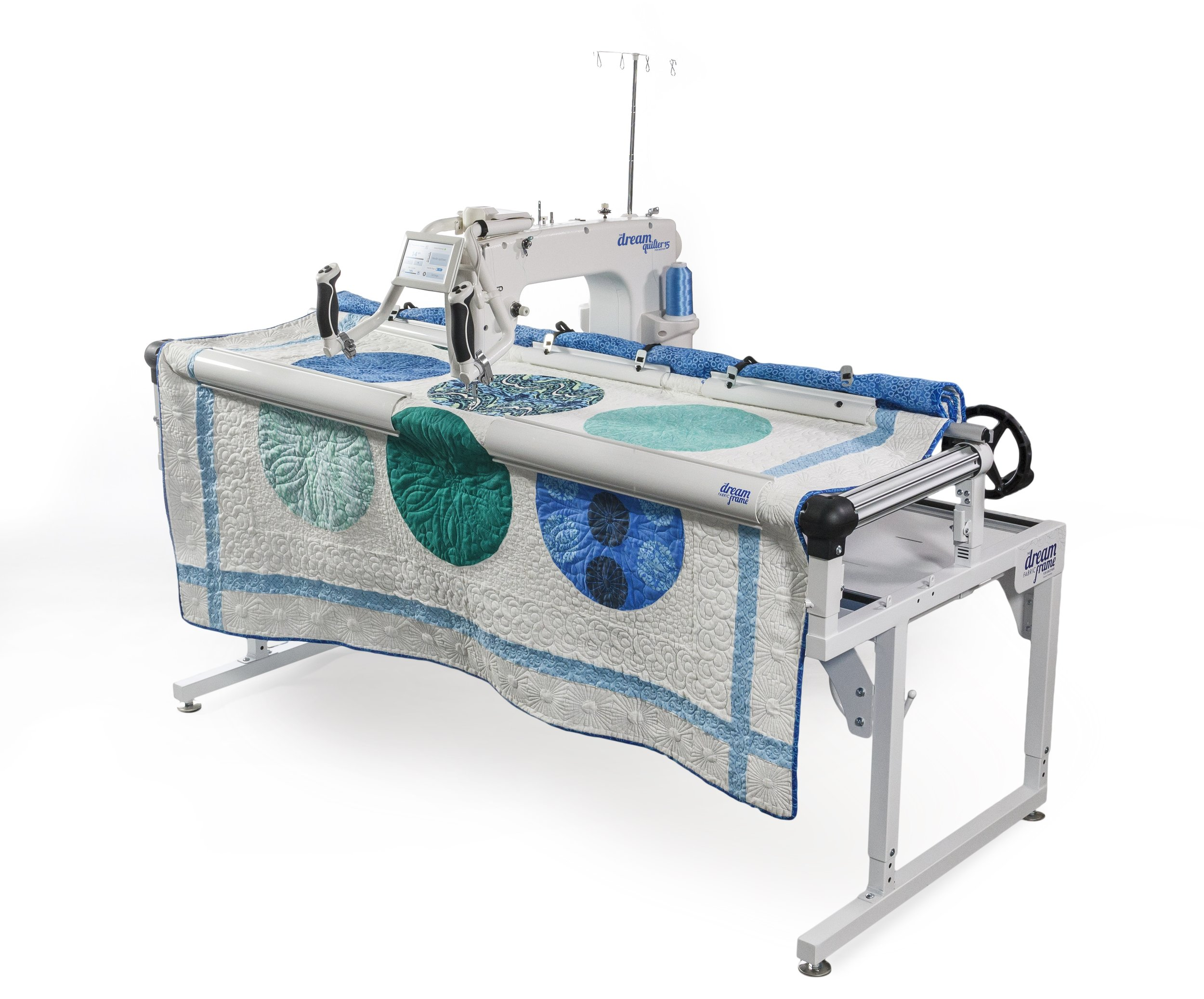 """Brother dream quilter 15 w/dream fabric frame  * 5"""" LCD touch screen  * 15"""" w 8"""" H work space  * laser stylist  * built - in bobbin winder  * built in stitch regulator"""