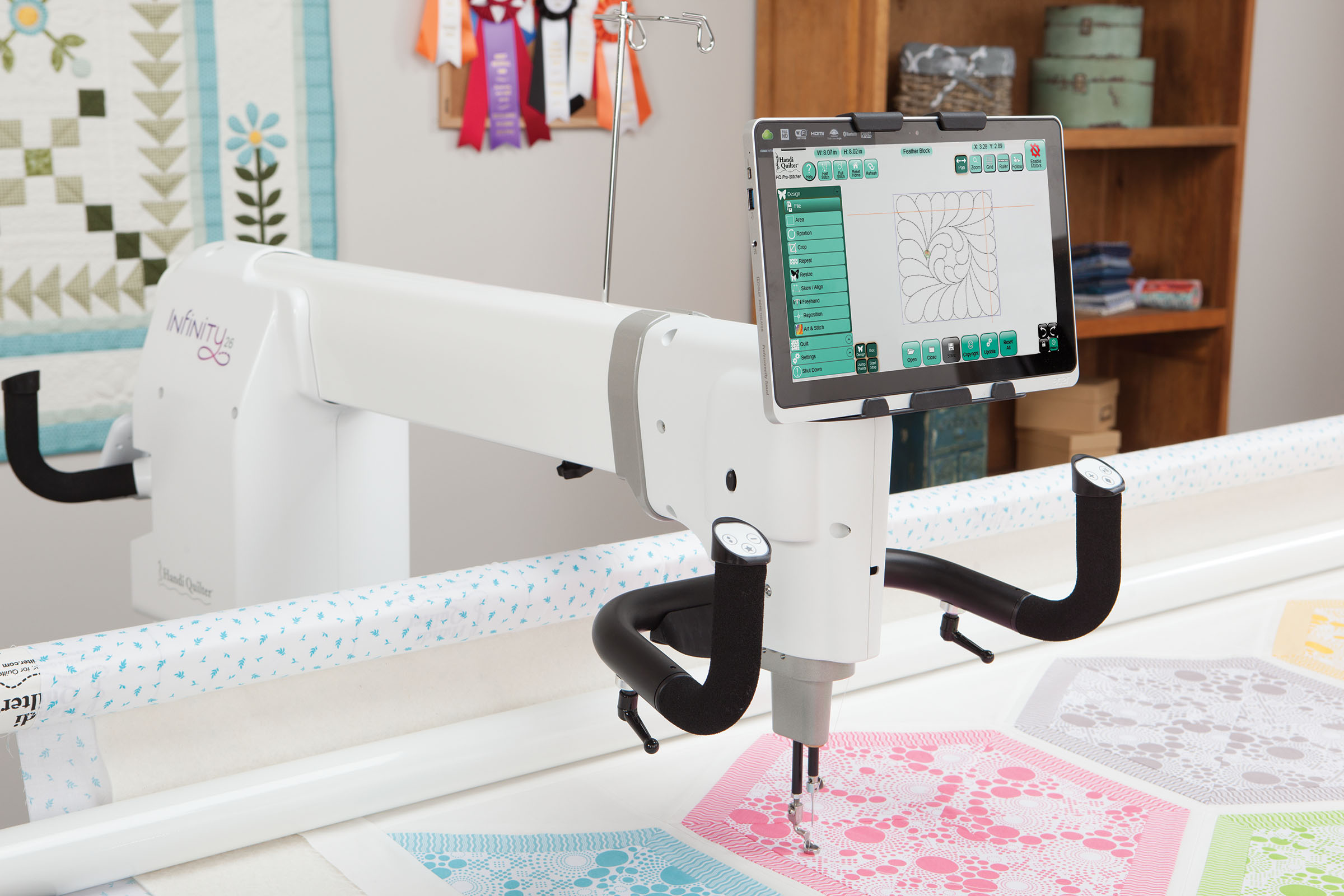 The creative possibilities of quilting are endless. Now, your longarm machine also provides endless opportunities. Introducing the HQ Infinity by Handi Quilter. Innovative features, from stitching speeds up to 3,100 precision stitches per minute to handlebars that can be tailored to how you like to quilt, establish the Infinity as best in class. Customizable settings, programmable presets and intuitive software give the Infinity the ability to work and grow with you.