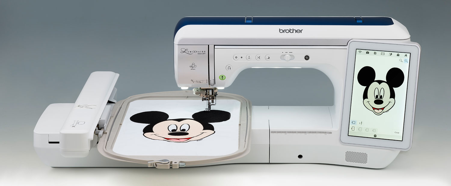 """Brother Luminaire Innov-is XP1  GENERAL FEATURES  13.1"""" needle to arm, and 5"""" height from sewing bed to top of machine arm  Almost 13"""" of full-spectrum lighting around the needle, with five adjustable settings  Automatic needle threading system  Separate bobbin winder system with adjustable bobbin winding speed  5-level adjustable bobbin winding thread amount  InnovEye Plus Technology  4x larger viewing area and faster scanning in high resolution  Foldable 2-thread spool stand magnetically attaches to the top cover  One action needle plate with enhanced guidelines  Convenient compartment for storing needle plate, on the sewing unit  Quiet operation during sewing and embroidery  Wireless LAN compatibility with PE-DESIGN 11 allows you to wirelessly send and receive embroidery stitch data between your PC and the Luminaire  Dual Purpose Stylus, to select options on the LCD screen as well as interact with icons displayed on fabric by the projector  Automatic thread tension  Automatic thread cutter  Textured surfaces on the machine bed area and embroidery unit reduce glare and enable smooth fabric feeding  Presser foot lever in convenient location"""