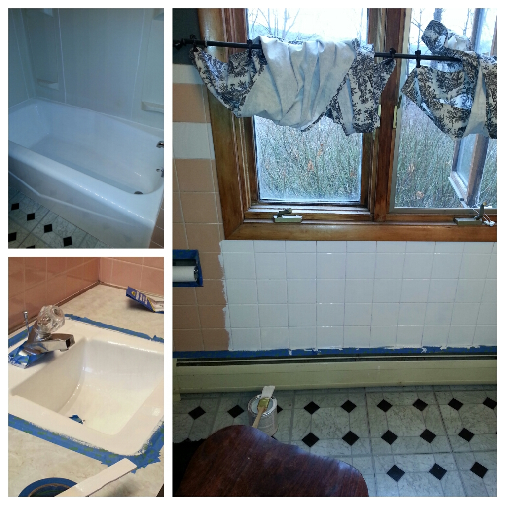 The sink and tub were the same color as the tile. Beautiful, huh?