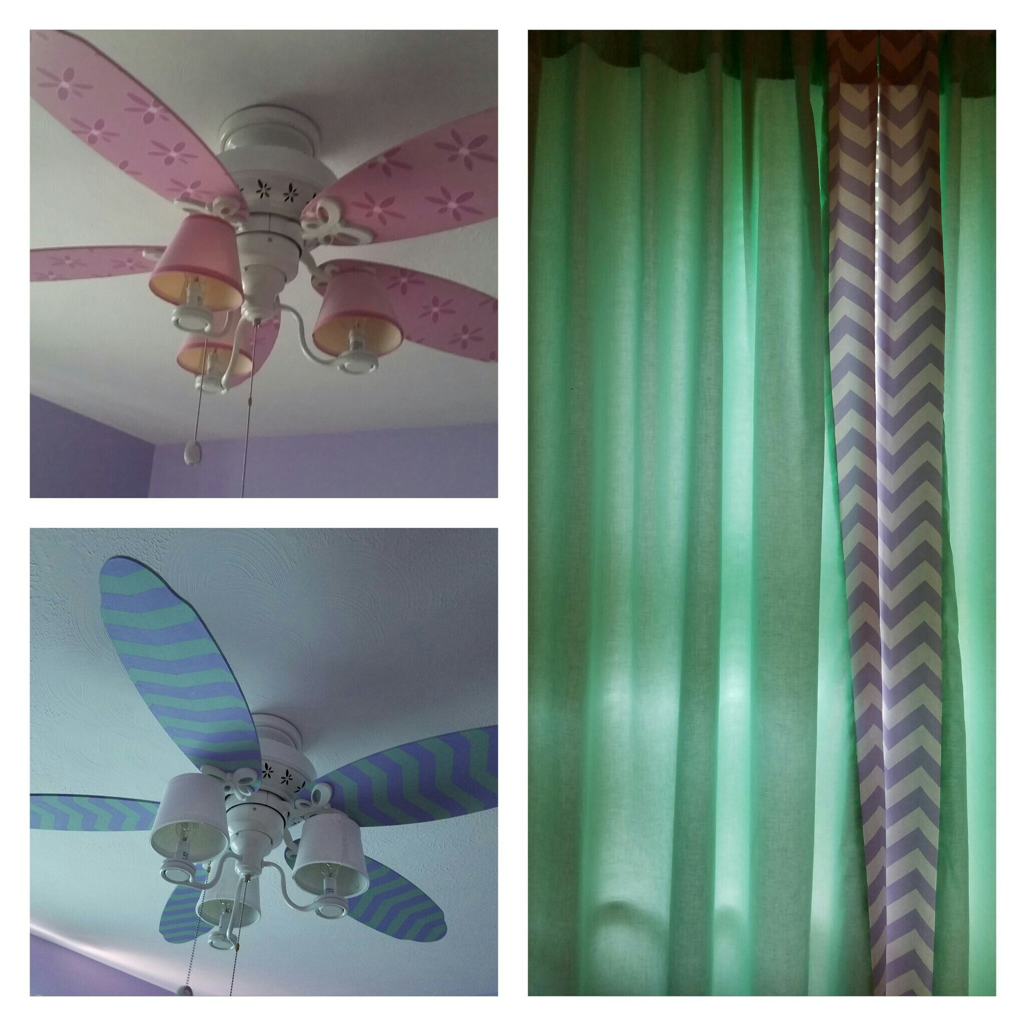 The ceiling fan got a makeover as well.  Previously pretty in pink flowers were replaced with a chevron pattern done in Mint Julep and Lucky Lavender, inspired by the colors in the curtains.  The homeowner replaced the shades on the fan with new white ones.