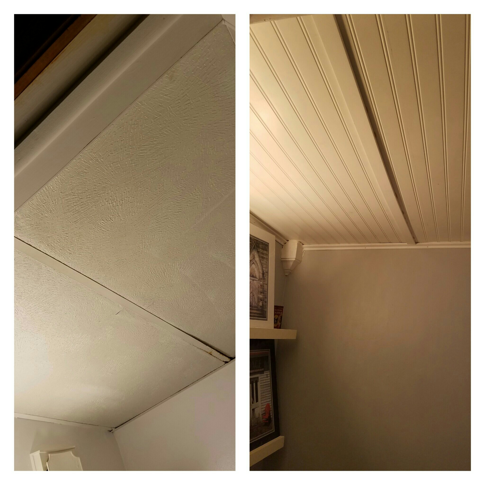 Then, it was straight to the top.  A two tile dropped ceiling had seen better days.  Wainscoting was used as a new ceiling treatment, along with trim and corner pieces.  This added a certain coziness to the room.