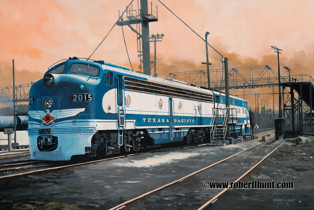 Waiting in Dallas Railroad Oil Painting