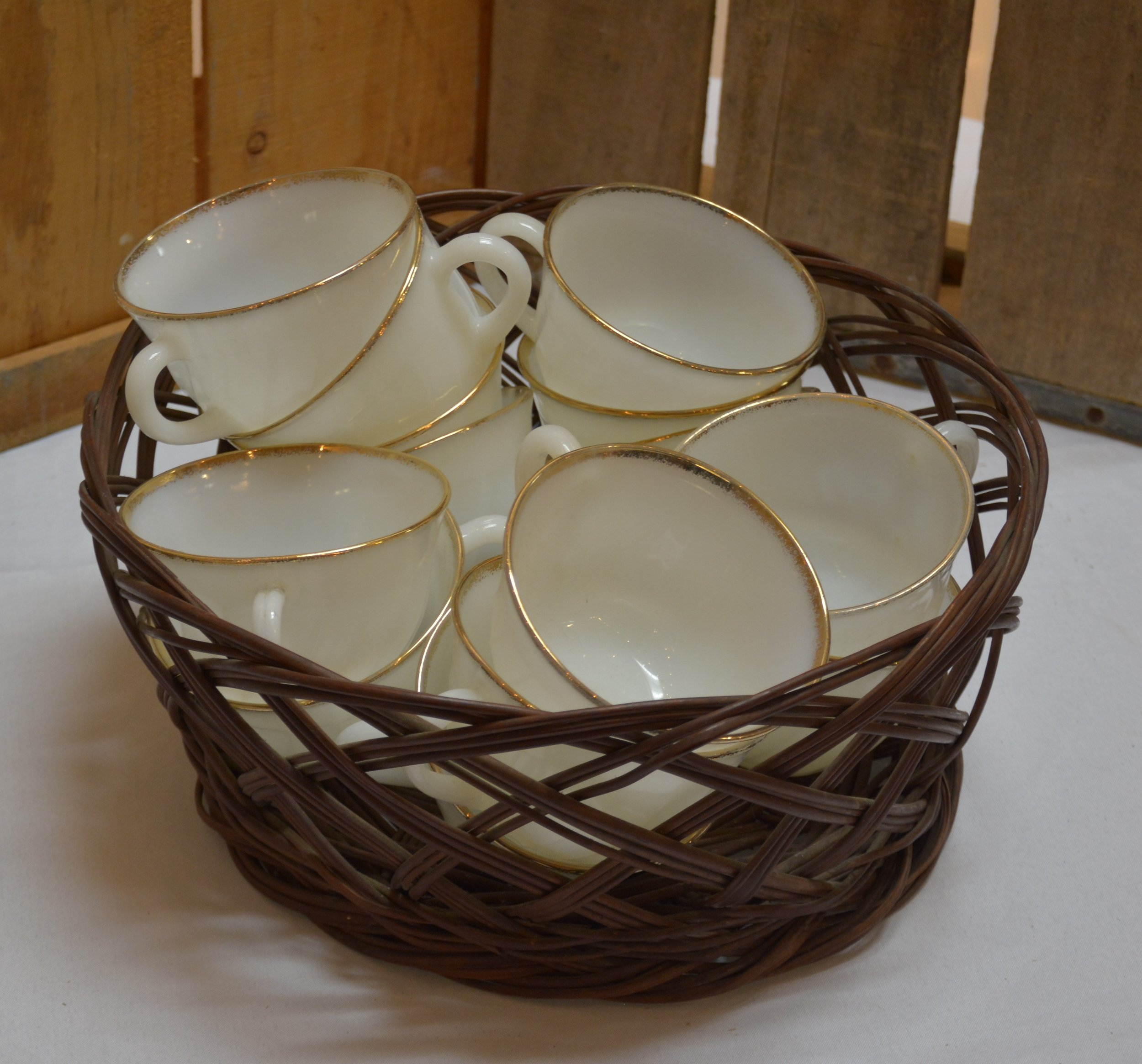Basket of Vintage Fire King Cups.JPG
