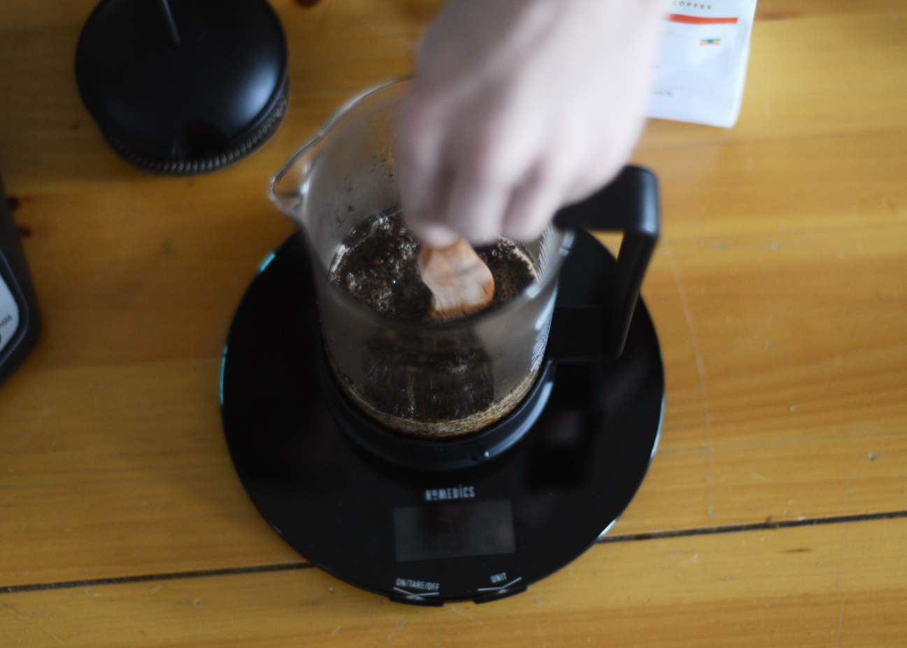 french press first stir