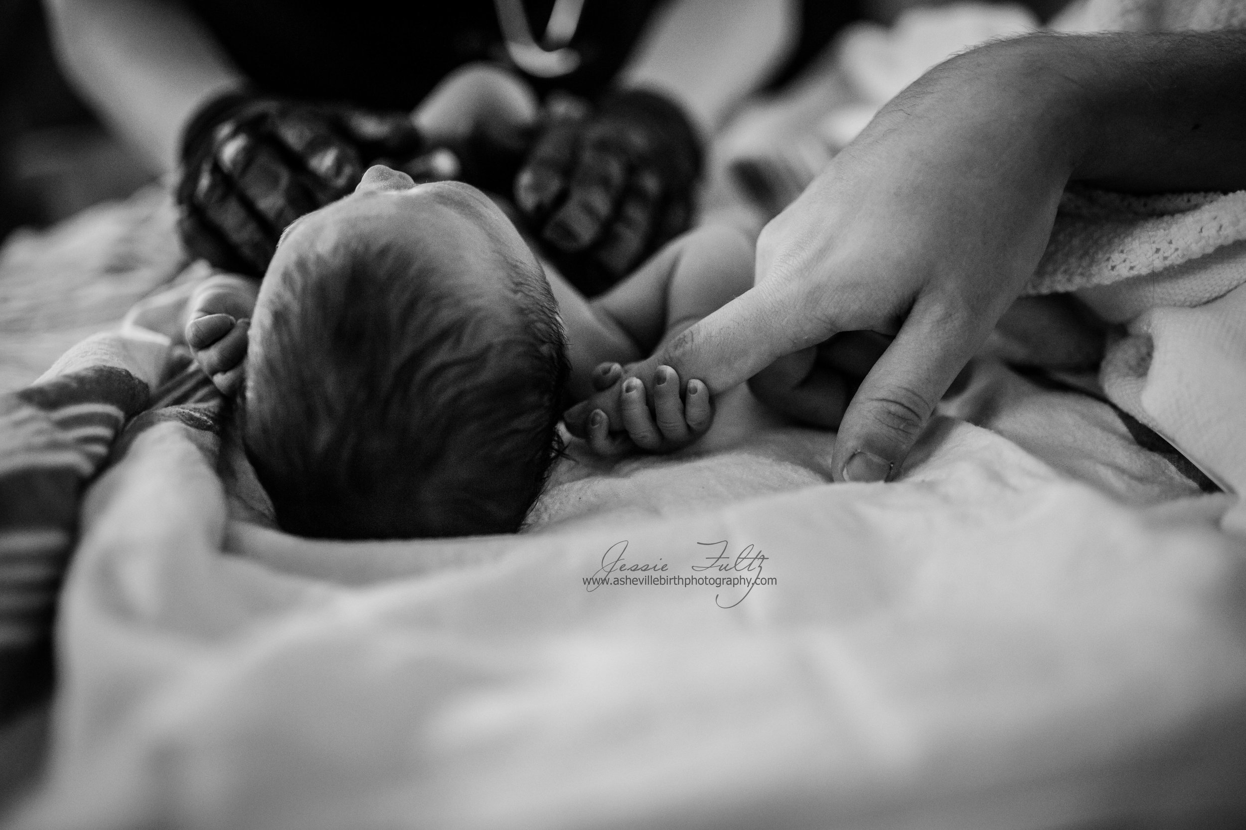 black and white picture of newborn holding dad's finger