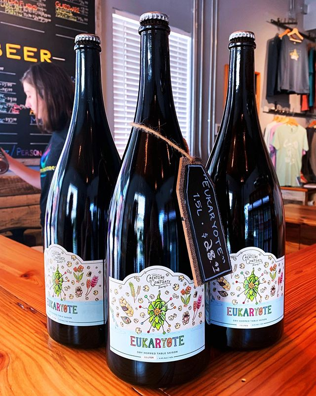We are selling our first ever magnums (1.5L) of beer!  Grab a very limited 1.5L bottle of Eukaryote in our tasting room while supplies last.  #WoodCellarSaturday
