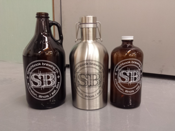 "Sketchbook Growlers - 64oz regular, 64oz stainless, 32oz half-growler (better known as a ""howler"")"