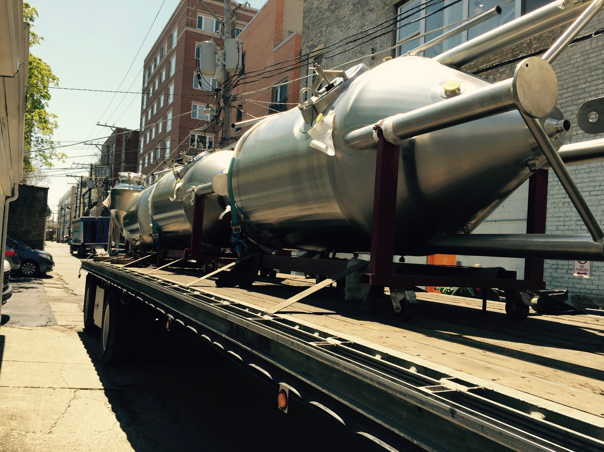 This is the third time we've had fermentors delivered to our alley--but it never gets old!