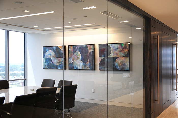 Large Framed Abstract paintings for a New Contemporary Office.