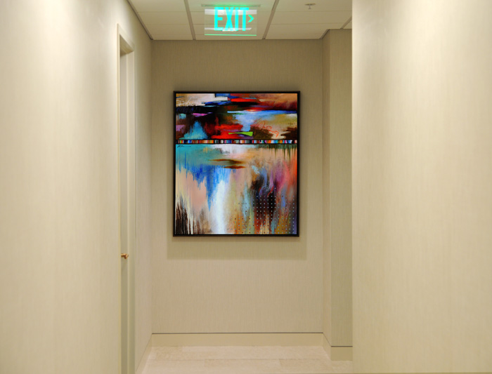 Large Framed Abstract painting for a Contemporary Office Hallway.