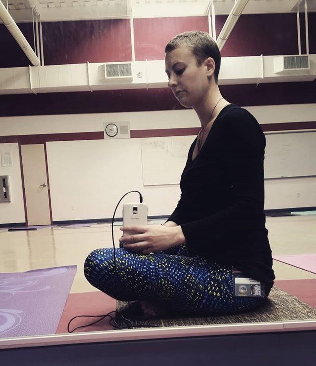 Sneaking a mirror pic in between teaching classes at Hillsdale High School! #yogaforeveryone