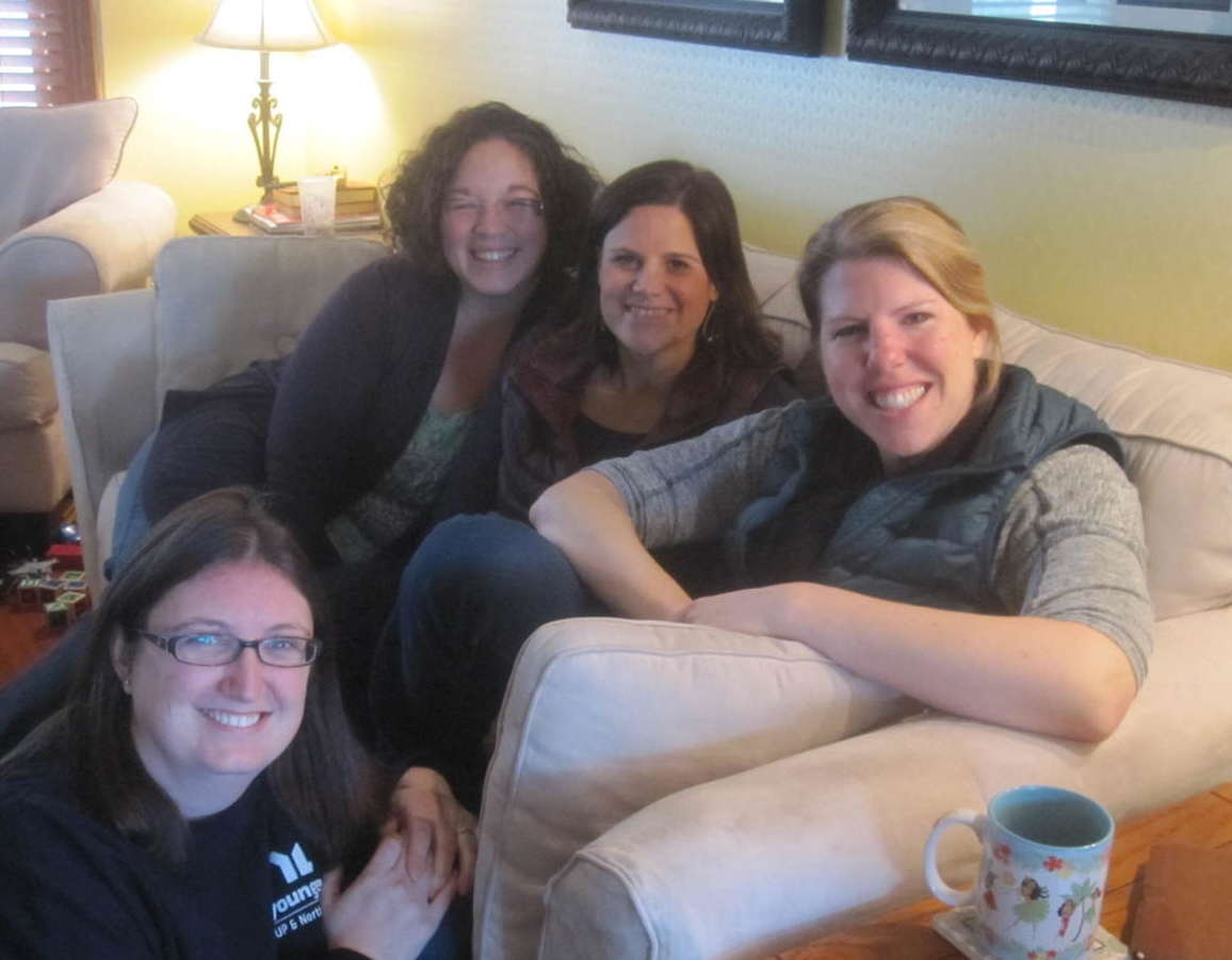 """Emily Coates, Suzi Entwistle, Laura Grenwald and Mindy Nash take a pause from Reading Scripture in Community"""" on a Tuesday morning."""