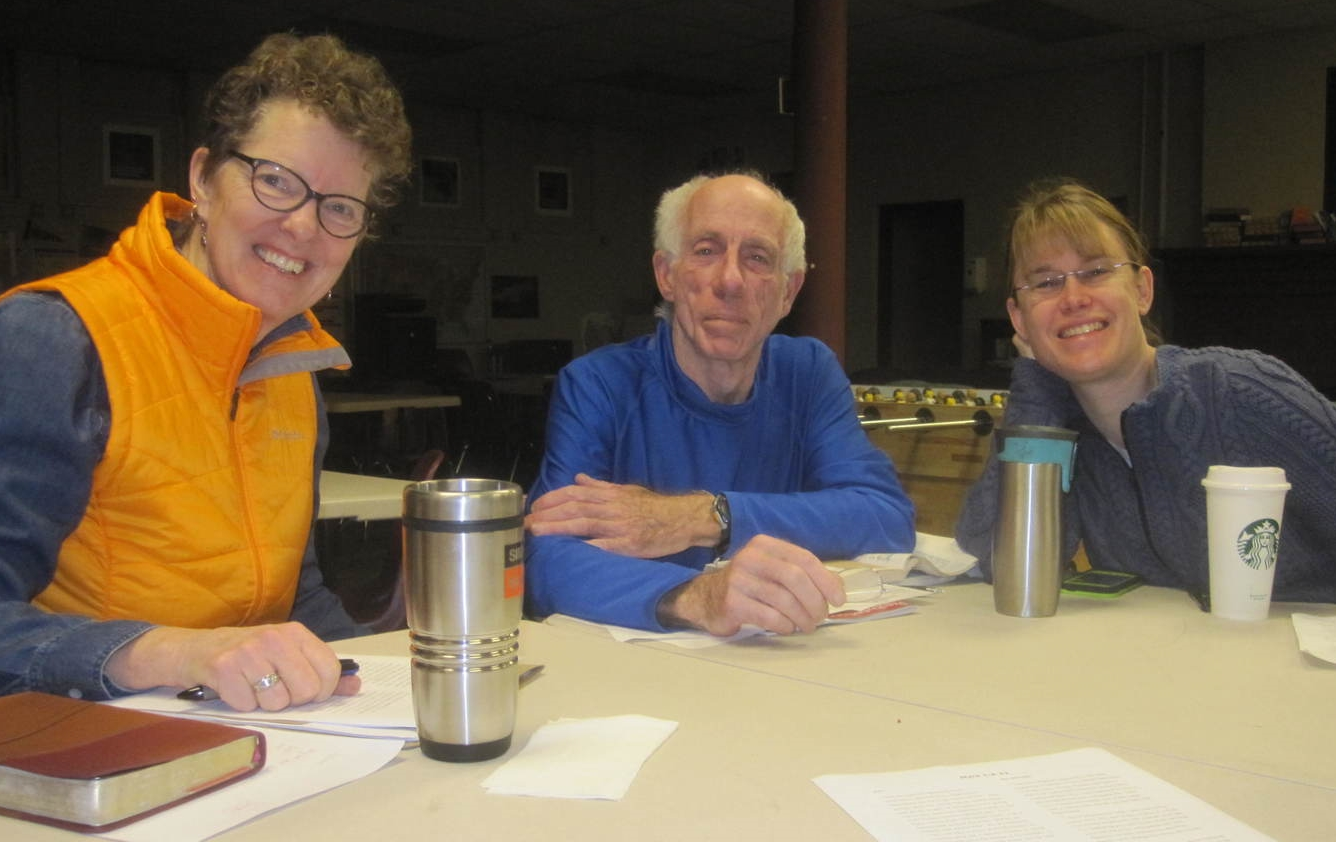 Heidi Armstrong, Archie Blakely and Sarah Nyland, armed with coffee, are ready to get started.