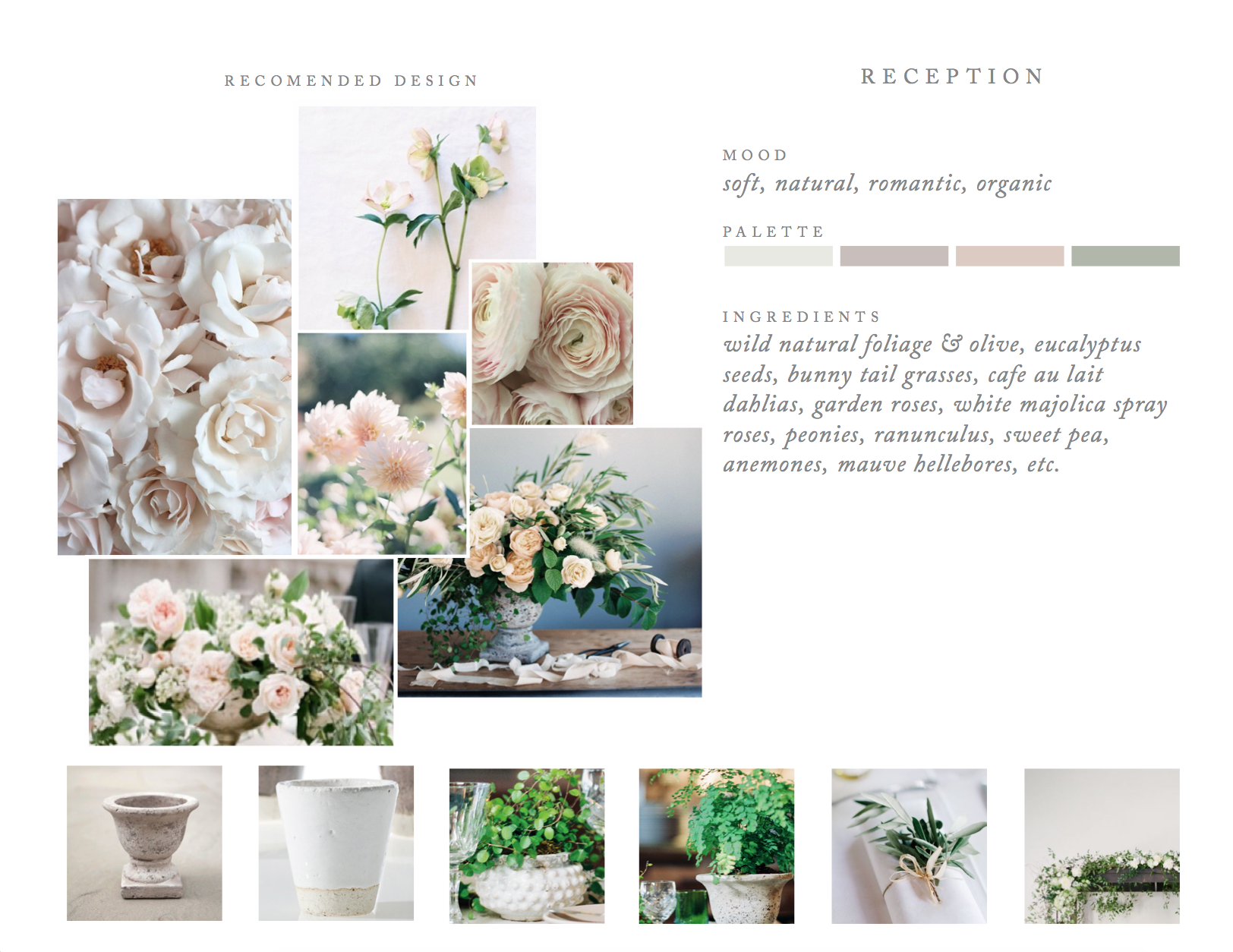The design for this pale and neutral luxury wedding at Sunstone was inspired by the iconic coloring of the villa walls itself. Above is the vision board we presented to our clients as a seedling of what their beautiful day could look like. We carried out this design using wild summer berries on the vine, a variety of locally harvested old-world garden roses, and we had cafe au lait dahlias cut the day before the event for flawless perfection.