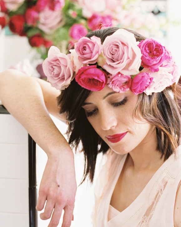 Flower Crowns - Available for pick-up at the shop, these adjustable-size head-wreaths or 'halo's are custom made to your desired fullness and color palette, and fit any size head, tied-off in the back with trailing ribbons.Ranging from $75-$115