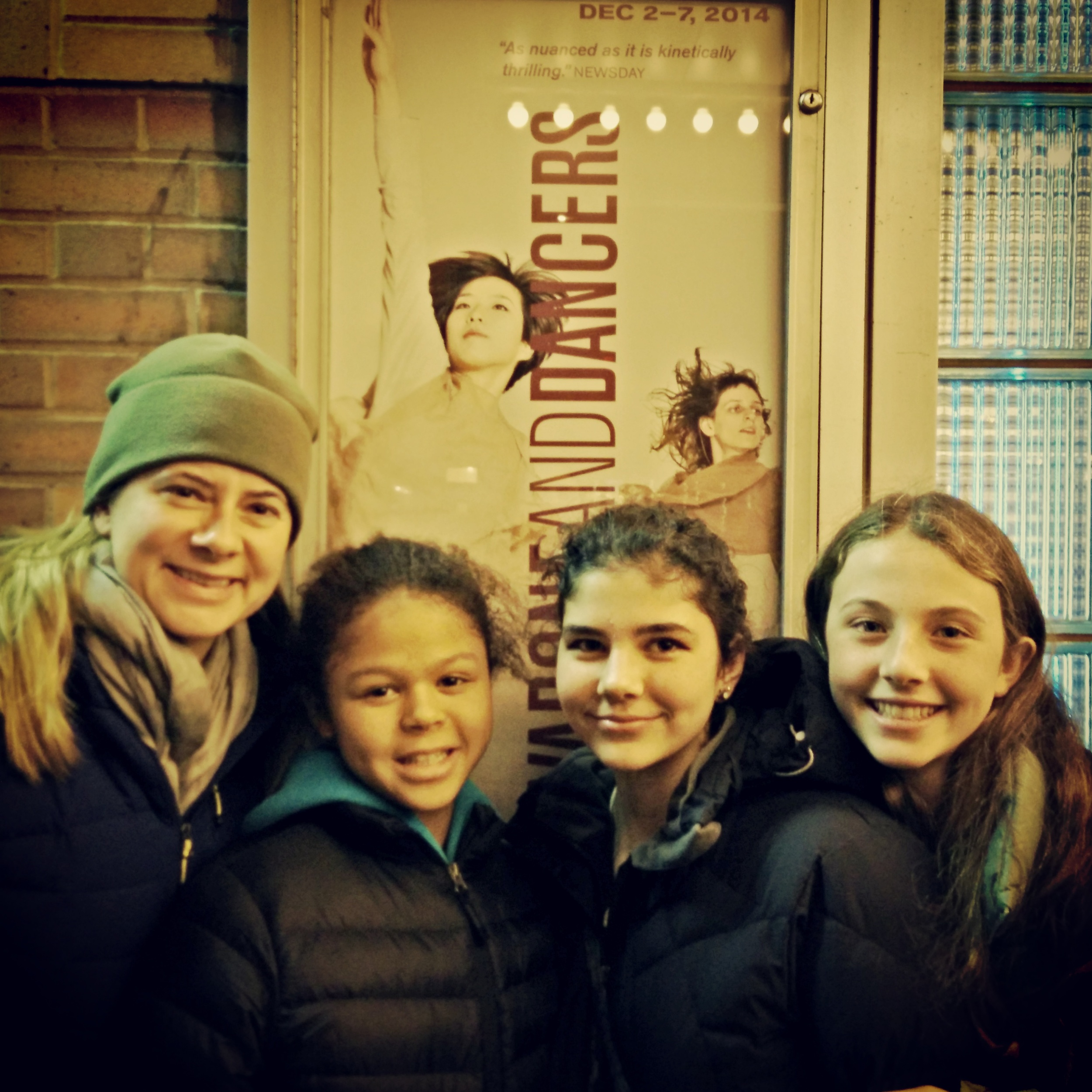 Rose with Erin and classmates at Doug Varone and Dancers at the Joyce Theater in December 2014.