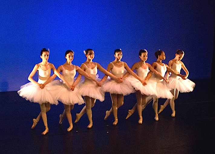 "Ruby on far left performing ""Seven Little Swans"" variation in e.g.dance May 2015 performance. Photo by Ebbe Sweet Photography"