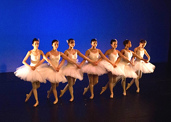 Pazit (far right) in dress rehearsal at eg.dance's May 2015 Annual Performance - Classical Variations Class in Swan Lake