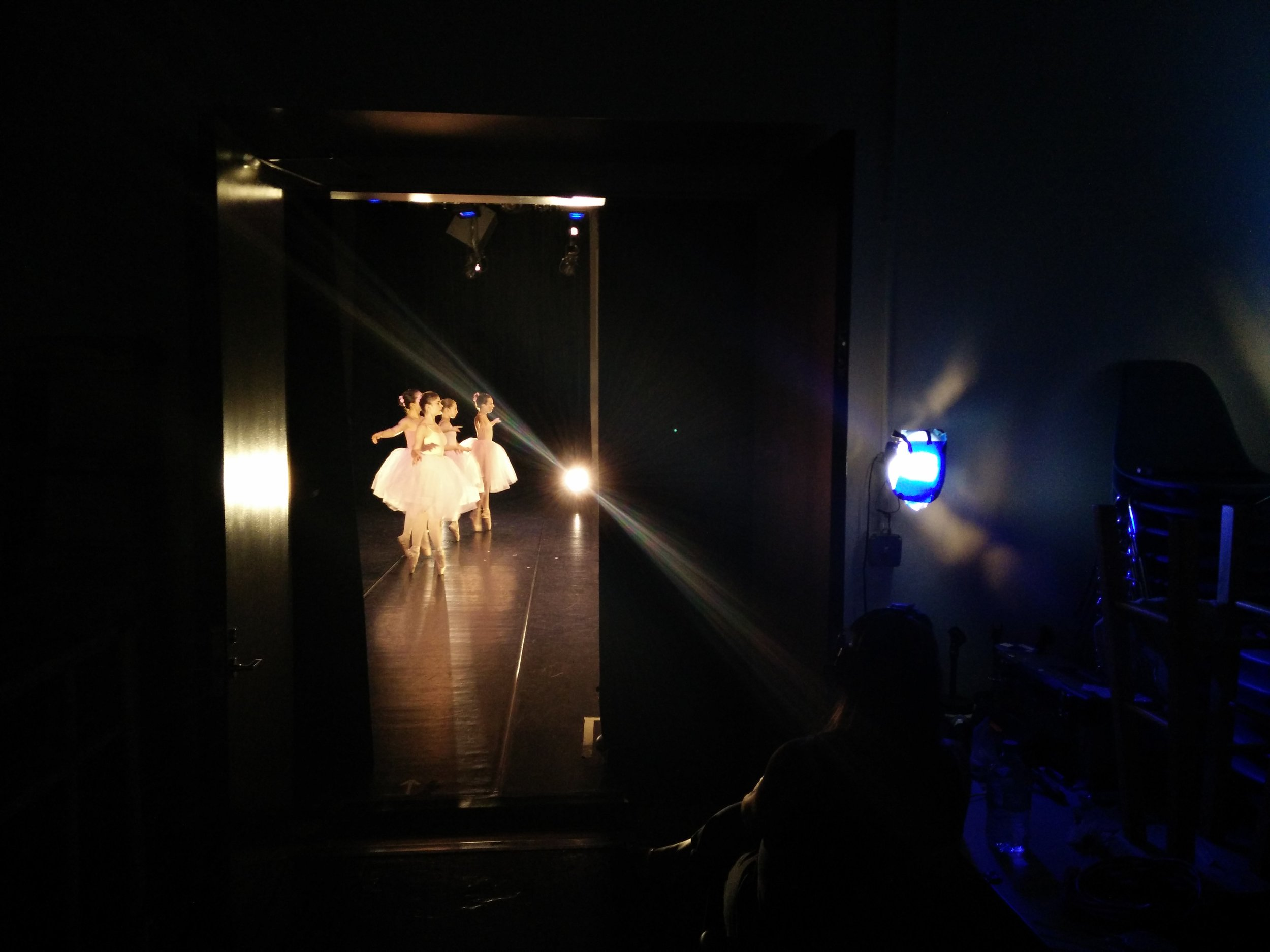 "A view from the wings - Pazit performing ""Pas de Quatre"" in e.g.dance's May 2015 program."