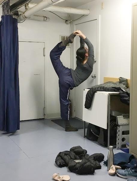 Doing a little stretching after ballet class 2017.