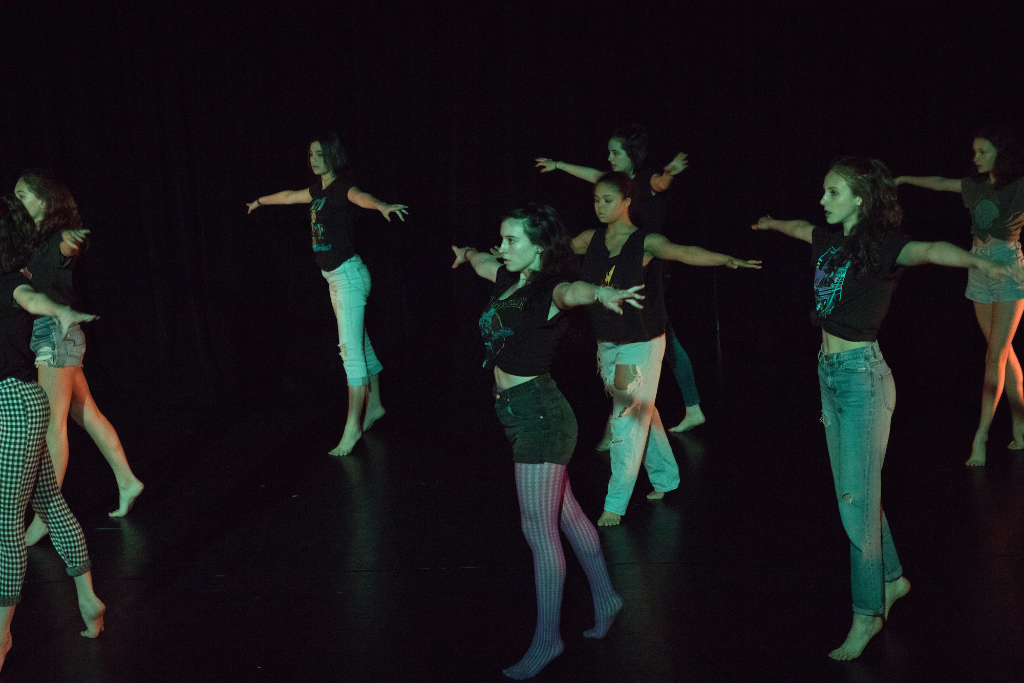 Stella (third from left) in e.g.dance performance in June 2018. Photo by Ebbe Sweet.