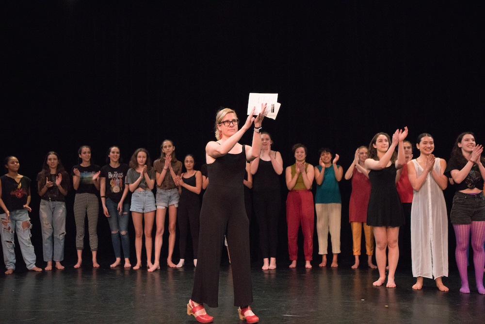 Erin during curtain call with students in June 2018. Photo by Ebbe Sweet