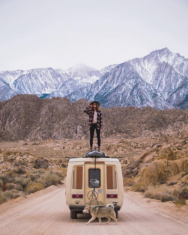 "Hello friends! Today's hippie #vanlife PSA for #EarthWeek is in regards to fire safety! So, you may be asking yourself what the heck this ""quintessential Alabama Hills photo"" (as coined by @ajcmedia, who snapped it) has to do with fire safety. Well, this spot, in Lone Pine, California, is frequented by many a vanlifer and currently in very close proximity to a 1,265 acre wildfire that started just days ago, shut down both directions of 395, and is threatening Native American archeological sites. 🔥 This is the 2nd wildfire for Inyo Co. in 2018. The Pleasant Fire, which burned over 2k acres along the Owens River in February, when winter snow & runoff usually make wildfire less of a threat, was started by people camping in a developed campground, when they failed to properly drown out their campfire (in a designated fire ring) the night before 30mph wind gusts sparked & carried away smoldering embers. NOTE: Do not have campfires when it's windy out people!! 🔥 The point being, campfires & vehicle camping can be real wildfire threats in many parts of the world, especially California, where the 2017 wildfire season was ""the most destructive season on record,"" with a total of 9,133 fires burning 1,381,405 acres. 🔥 It's important to know the fire restrictions & safety hazards of each location you camp in. For instance, in the state of California, if you are having a campfire, using a barbecue, gas stove or lantern outdoors, and you don't have a free California Campfire Permit, that's an illegal fire you got there, regardless of what Smokey Bear says the wildfire threat level is. Chances are, if you don't have a permit, you're unaware of California's Campfire Safety Rules, your campfire is most likely a threat to causing a destructive wildfire and/or pissing off locals & eco-conscious nomads (like me) who will most definitely call the local fire sheriff on your illegal campfire having ass! 🔥 There's lots more fire safety tips to be told but now you know why it's important to research, learn & know about the fire safety hazards & rules of the places you vanlife it. And... #themoreyouknow #onlyyoucanpreventwildfires"
