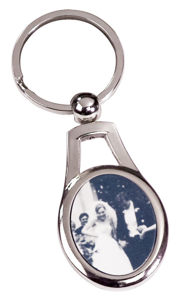 1 Sided Silver Keychain - Oval